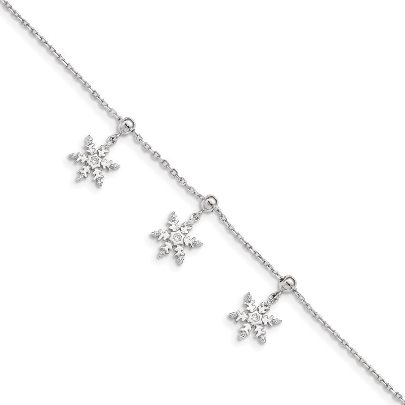 Quality Gold Sterling Silver Rhodium-plated CZ Snowflake Dangle 6.5 in w/1IN Ext Bracele