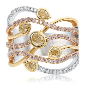 Tri-Colored Overlapping Diamond Ring