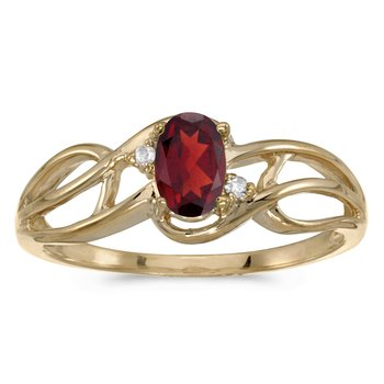 10k Yellow Gold Oval Garnet And Diamond Curve Ring