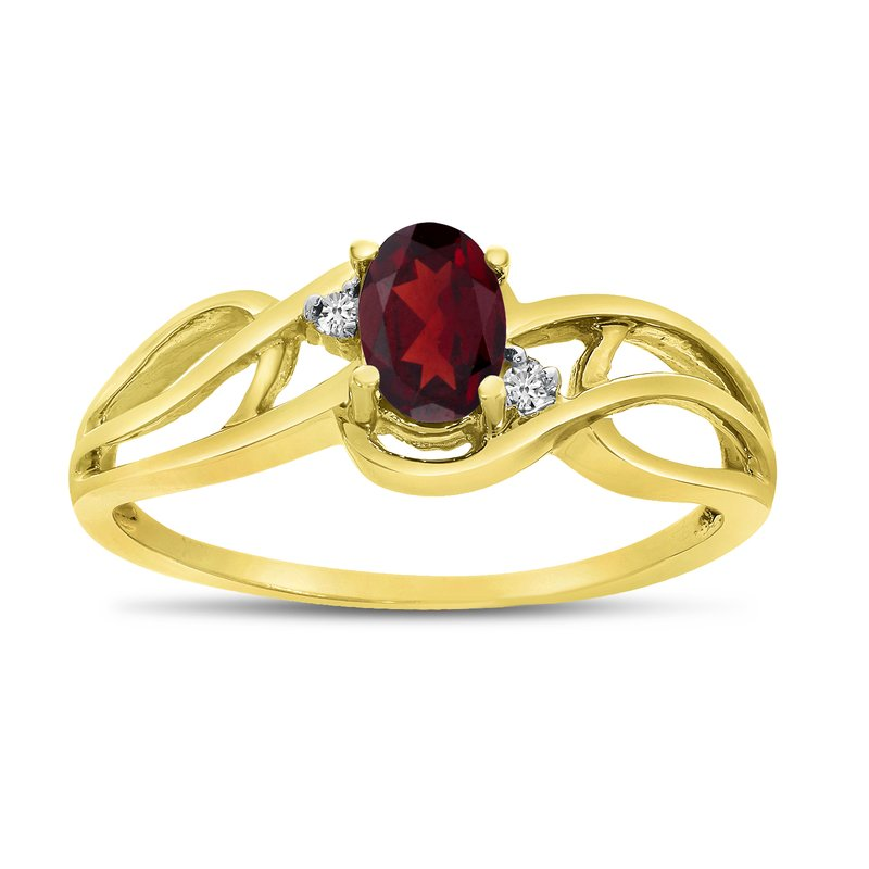 Color Merchants 10k Yellow Gold Oval Garnet And Diamond Curve Ring