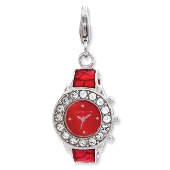 Sterling Silver Amore La Vita Rhodium-pl Red Enameled 3-D Watch Charm