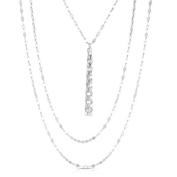 Silver Mirror Chain Layered Tassel Necklace