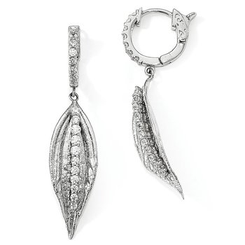 Sterling Silver CZ Leaf Hinged Hoop Dangle Earrings