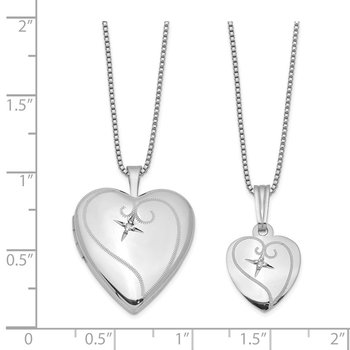 Sterling Silver Rhodium-plated Diamond Polished Heart Locket & Pendant Set
