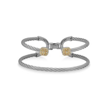 Grey Cable Balance Bracelet with 18kt Yellow Gold & Dual Square Diamond Stations