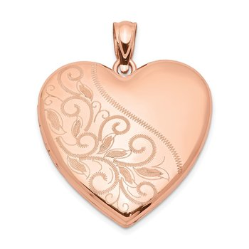 Sterling Silver Rose Gold-plated 24mm Scrolled Heart Family Locket