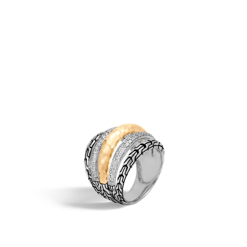 JOHN HARDY Classic Chain Ring in Silver, Hammered 18K Gold, Diamonds