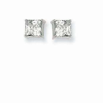 Silver 6MM Princess CZ Earring