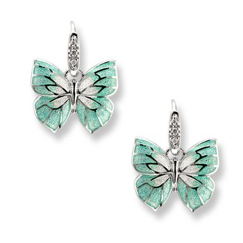 Green Butterfly Wire Earrings.Sterling Silver-White Sapphires