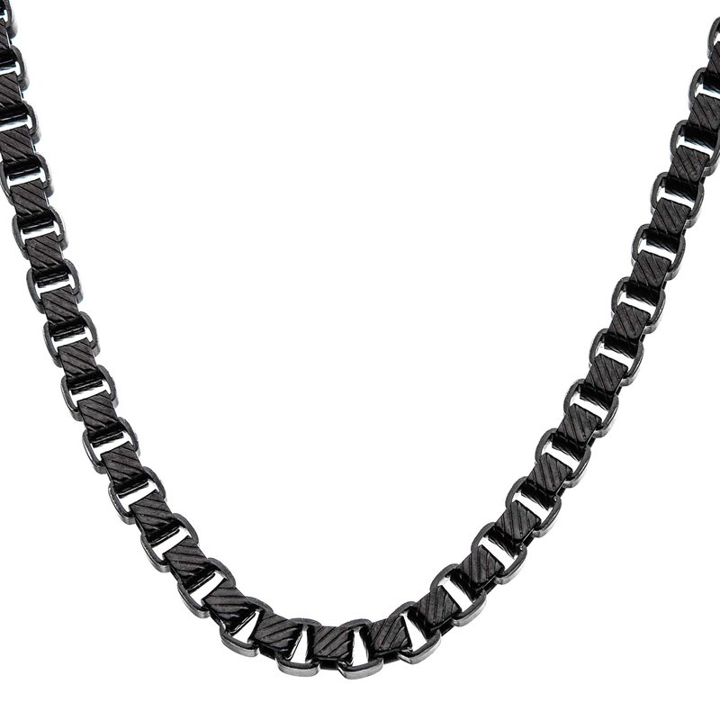 INOX Men's Jewelry Stainless Steel 5.5mm Black Plated Round Box Chain Necklace