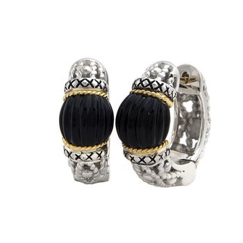 18KT & STERLING SILVER ONYX HOOP EARRINGS