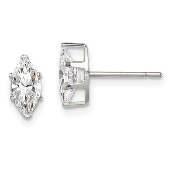 Sterling Silver 8x4 Marquise Snap Set CZ Stud Earrings
