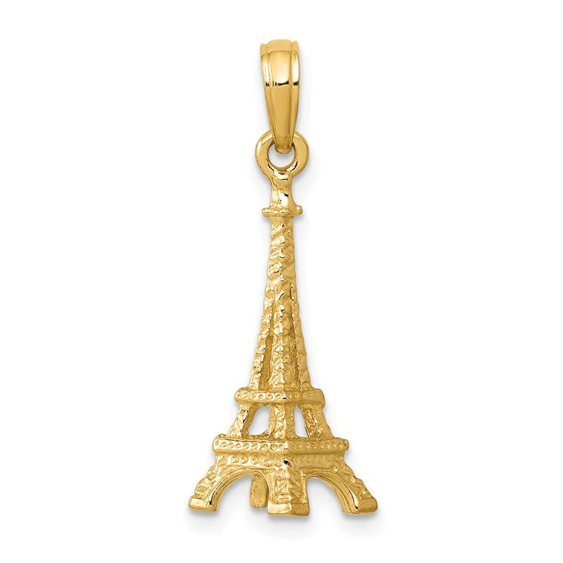 Quality Gold 14k Solid Polished 3-D Eiffel Tower Charm