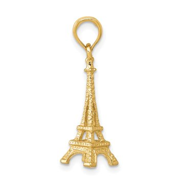 14k Solid Polished 3-D Eiffel Tower Charm