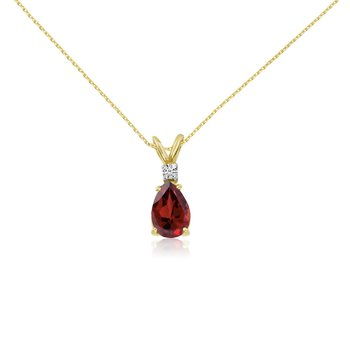 14k Yellow Gold 7X5 Garnet Pear and Diamond Pendant