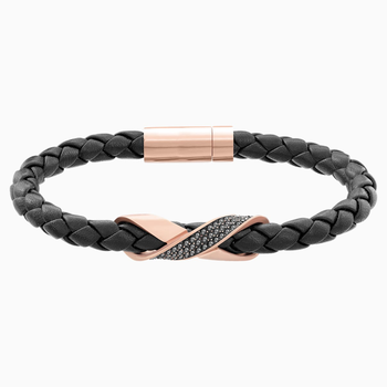 Cross Signature Bracelet, Leather, Black, Rose-gold tone plated