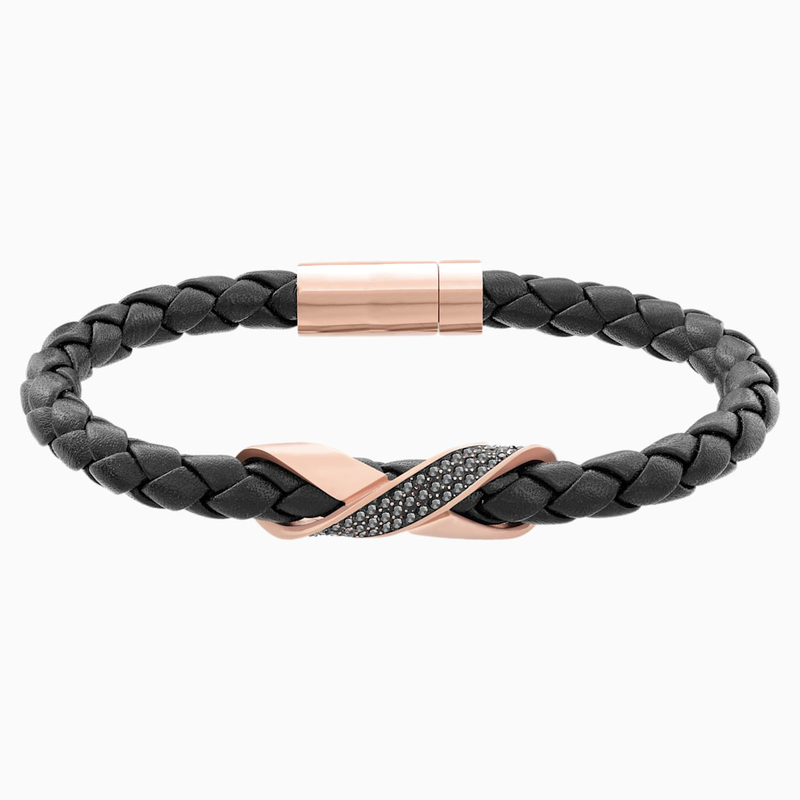 Swarovski Cross Signature Bracelet, Leather, Black, Rose-gold tone plated