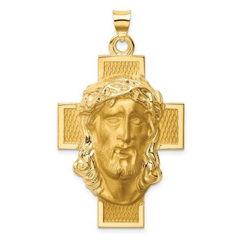 14k Hollow Polished/Satin Jesus Cross Medal