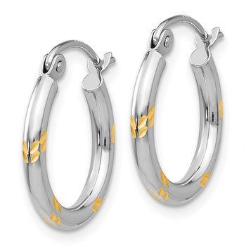 14k White Gold and Yellow Rhodium Hoop Earrings