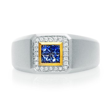 Men's Polished Sapphire Ring