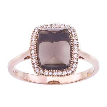 14k Rose Gold Smoky Topaz and Diamond Ring