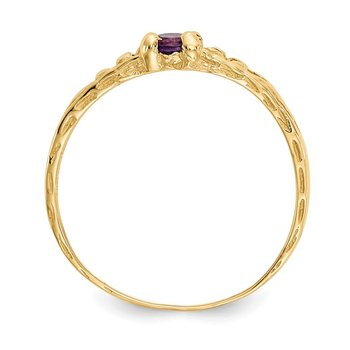 14k Madi K 3mm Amethyst Birthstone Baby Ring