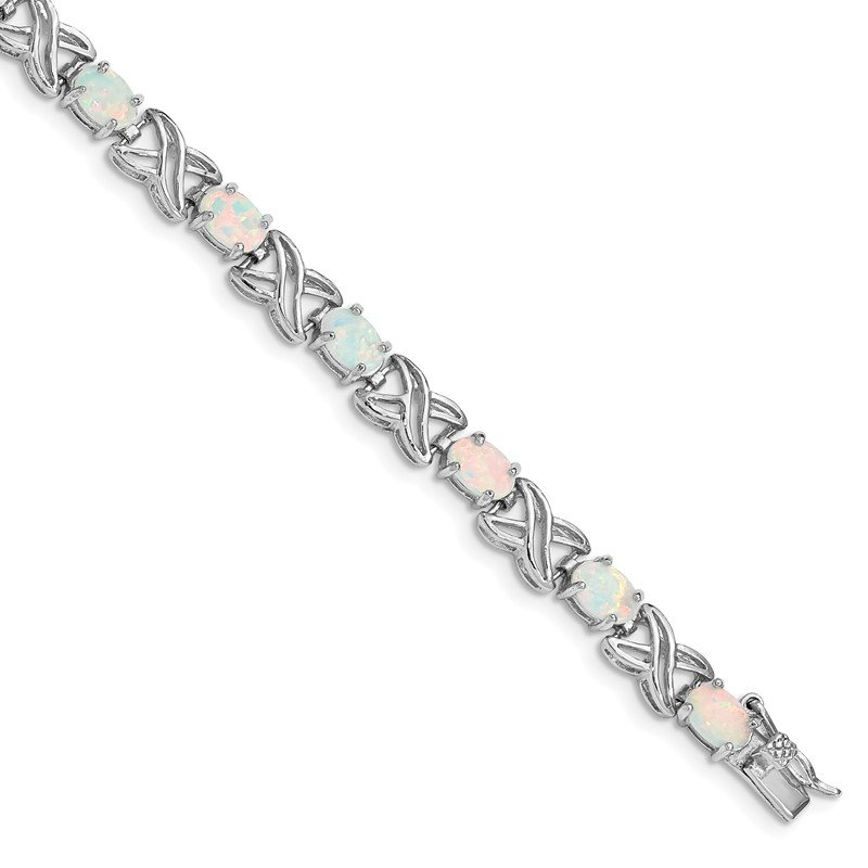Quality Gold Sterling Silver Rhodium Plated 8.5 inch Created Opal XO Bracelet