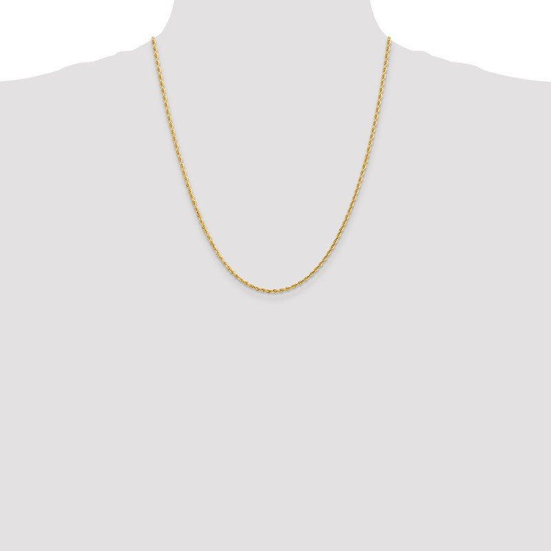 Quality Gold 10k 2.25mm D/C Quadruple Rope Chain Anklet