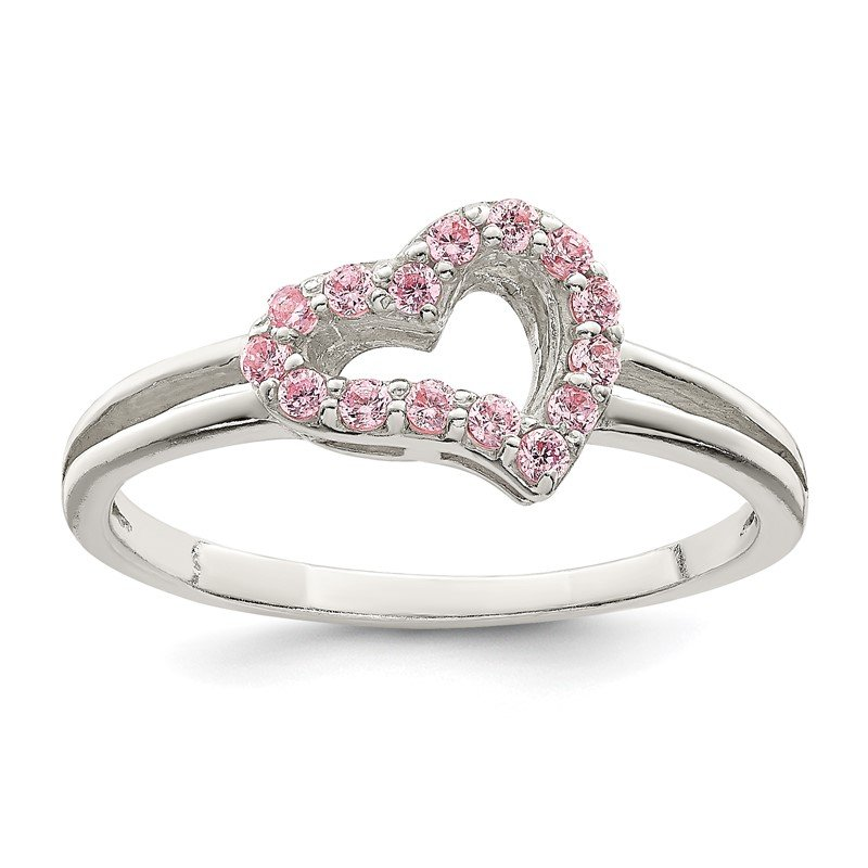Quality Gold Sterling Silver Polished Pink CZ Heart Ring