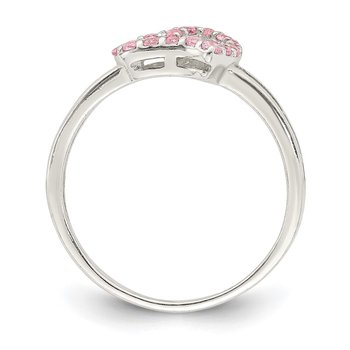 Sterling Silver Polished Pink CZ Heart Ring