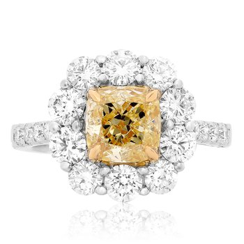 Flowering White & Yellow Diamond Ring