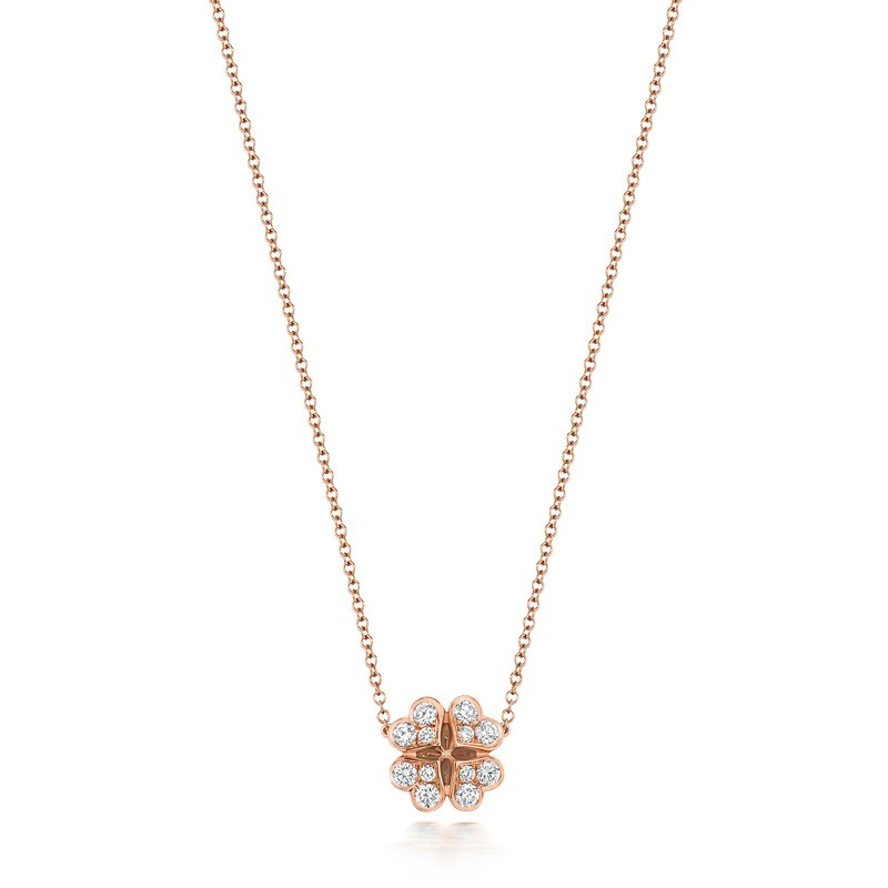 Treasure Diamond Large Clover Necklace 16/17Inch