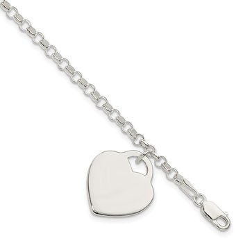 Sterling Silver Engraveable Heart Bracelet