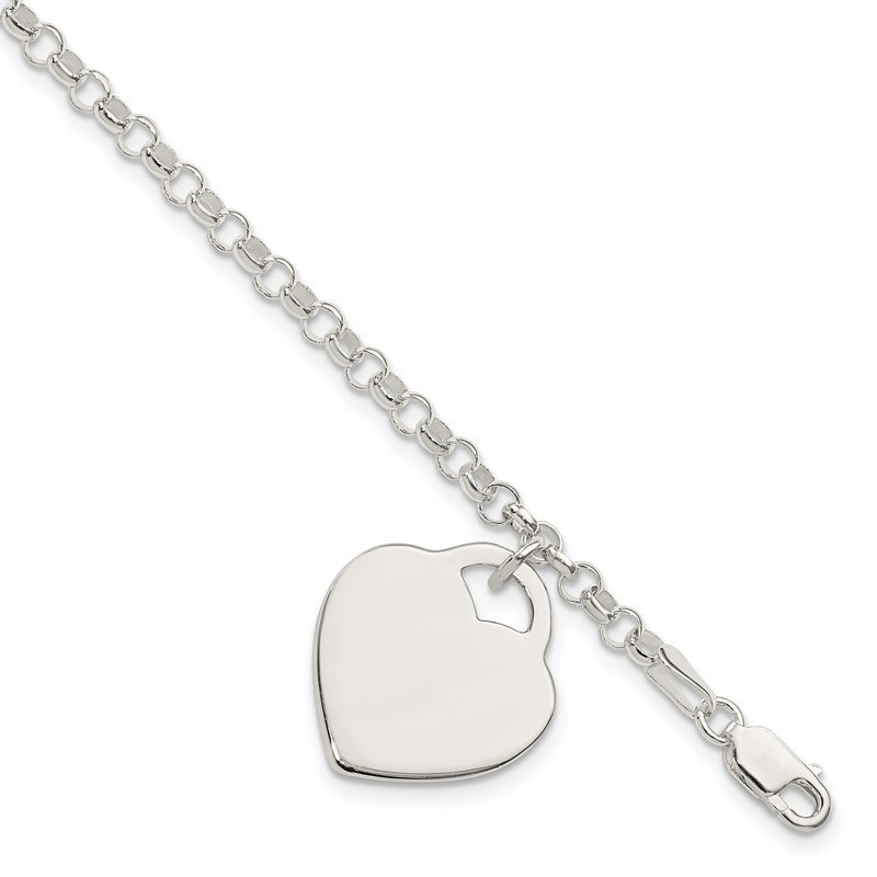Quality Gold Sterling Silver Engraveable Heart Bracelet