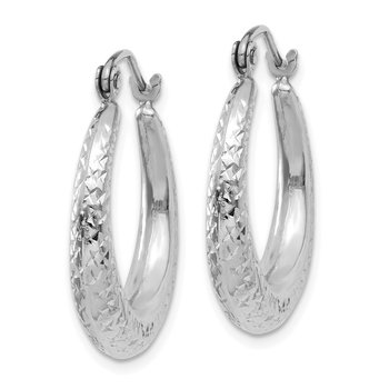 14K White Gold Diamond Cut Hollow Hoop Earrings