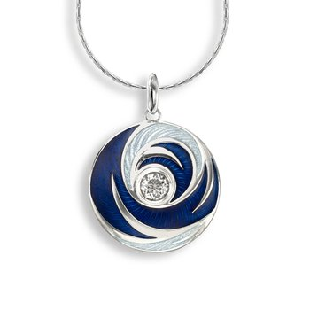 Blue Round Necklace.Sterling Silver-White Quartz