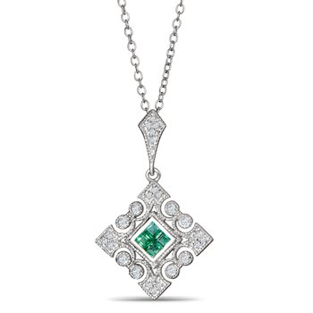 Emerald And Diamond Pendant In 925 Sterling Silver
