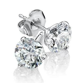 Three Prong Diamond Studs in 14k White Gold Screw-back posts (1/7ct. tw.)