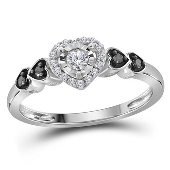 Sterling Silver Womens Round Diamond Solitaire Ring 1/5 Cttw