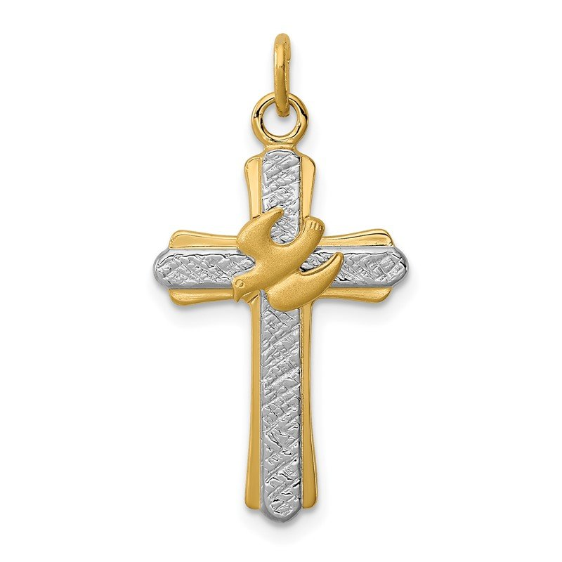 Quality Gold Sterling Silver Rhodium-plated & 18k Gold-plated Dove (Satin) Cross Charm
