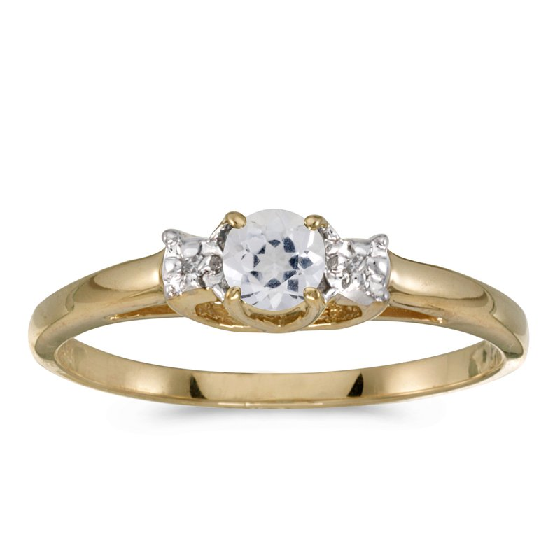 Color Merchants 10k Yellow Gold Round White Topaz And Diamond Ring