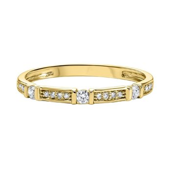 Diamond Solitaire Station Bar Stackable 3/4 Eternity Band in 10k Yellow Gold (⅙ ctw)