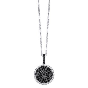 Black And White Diamond Circle Necklace in 14k White Gold with 82 Diamonds weighing .71ct tw.