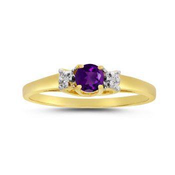 14k Yellow Gold Round Amethyst And Diamond Ring