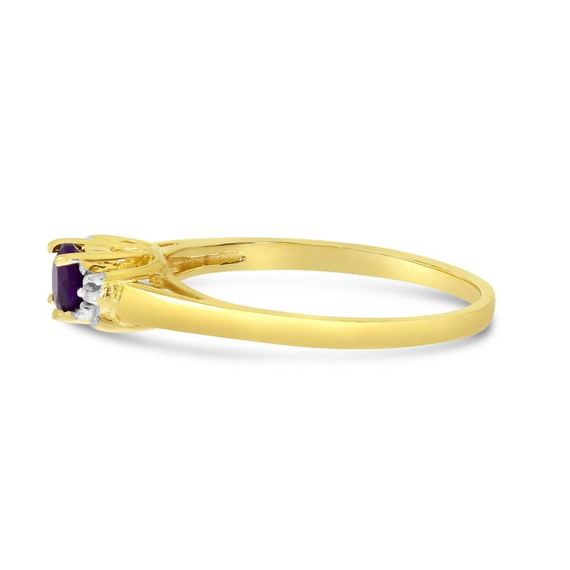 Color Merchants 14k Yellow Gold Round Amethyst And Diamond Ring