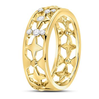 14kt Yellow Gold Womens Round Diamond Studded Star Band Ring 1/3 Cttw