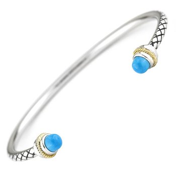 18kt and Sterling Silver Turquoise Bangle