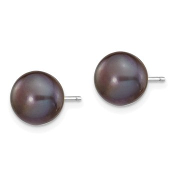 14k White Gold 8-9mm Black Button FW Cultured Pearl Stud Post Earrings