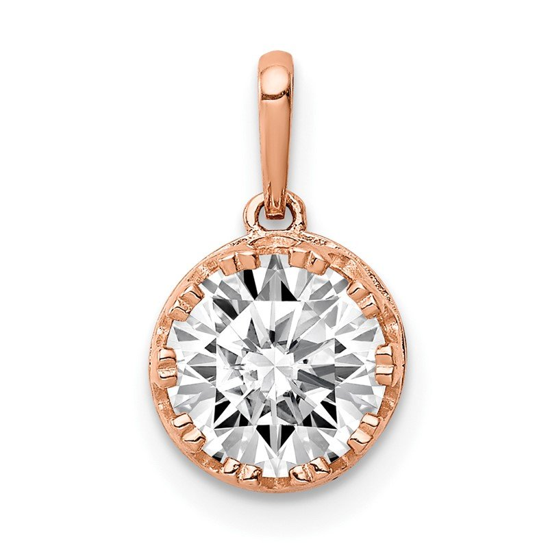 Quality Gold 10k Tiara Collection Rose Gold Polished CZ Pendant