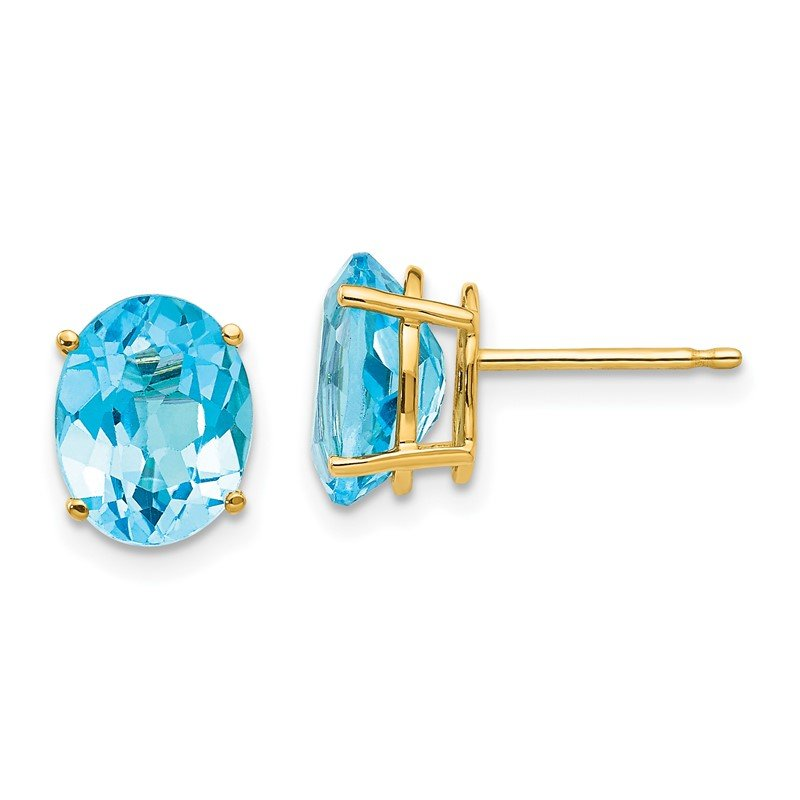 Quality Gold 14k 9x7mm Oval Blue Topaz Earrings
